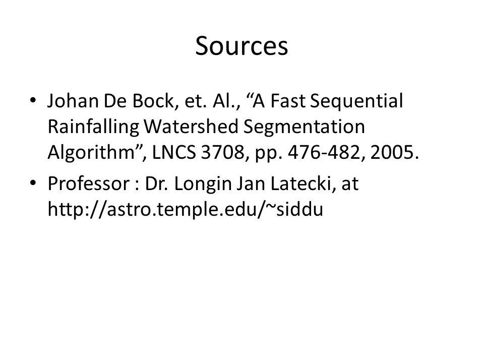 Sources Johan De Bock, et. Al., A Fast Sequential Rainfalling Watershed Segmentation Algorithm , LNCS 3708, pp. 476-482, 2005.