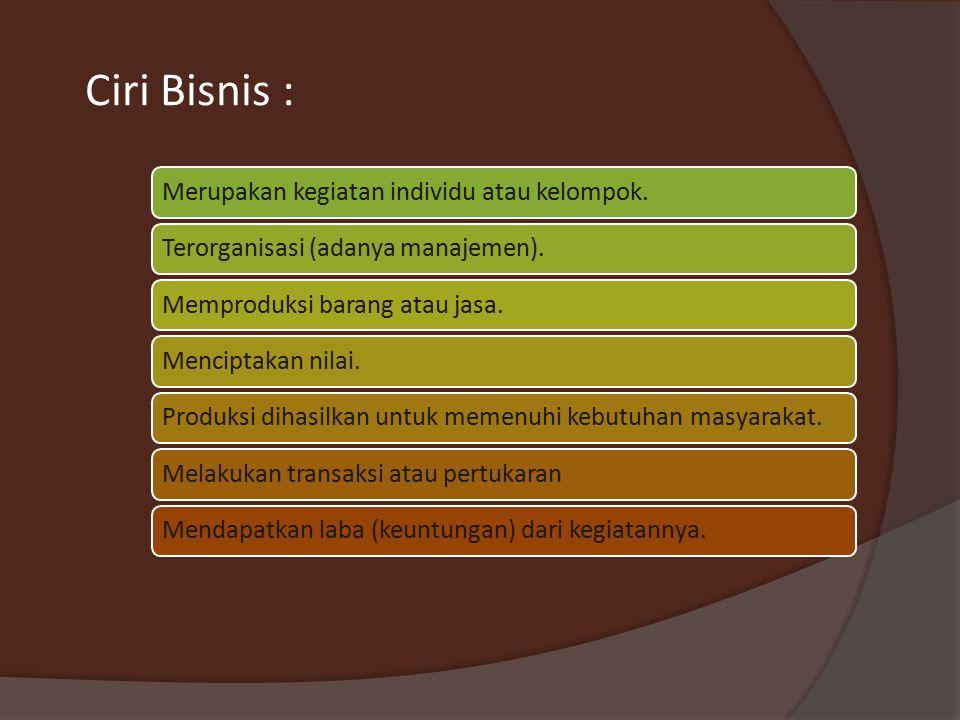 Ciri Bisnis : Merupakan kegiatan individu atau kelompok.