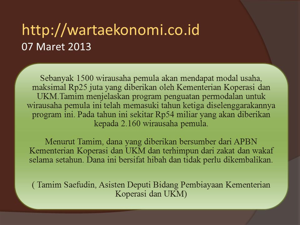http://wartaekonomi.co.id 07 Maret 2013