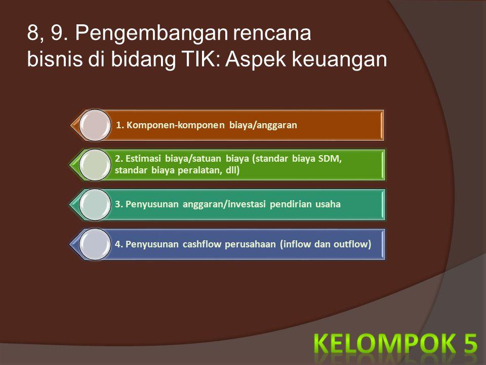 8, 9. Pengembangan rencana bisnis di bidang TIK: Aspek keuangan