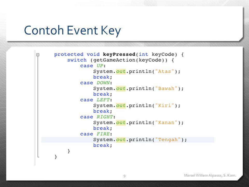 Event Pointer Selain Event Key, program MIDP dapat juga menangani Event Pointer.