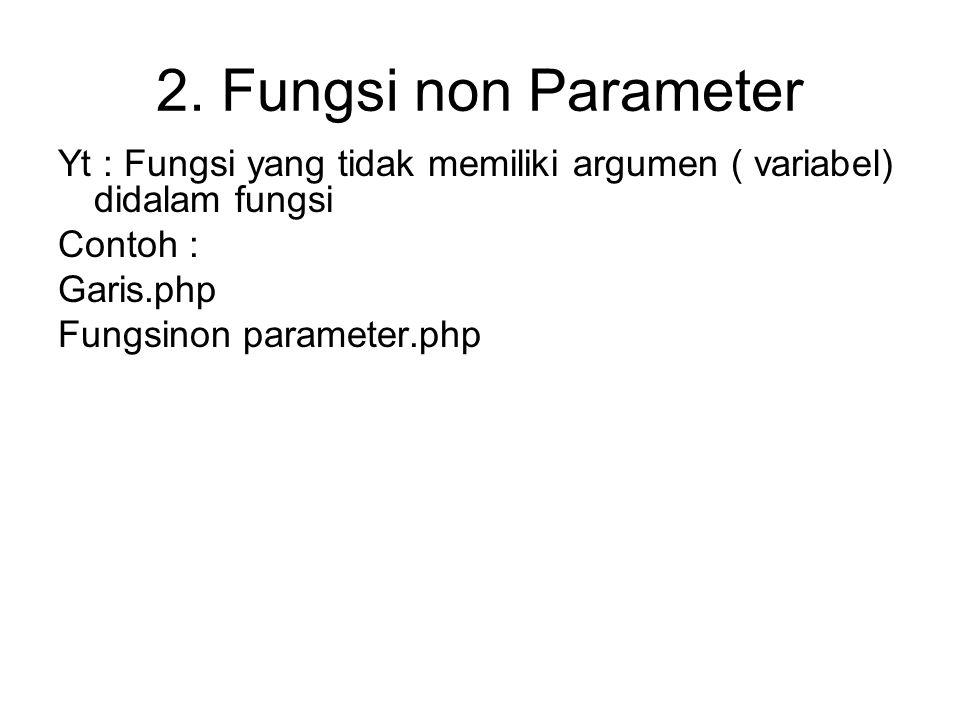 2. Fungsi non Parameter Yt : Fungsi yang tidak memiliki argumen ( variabel) didalam fungsi. Contoh :
