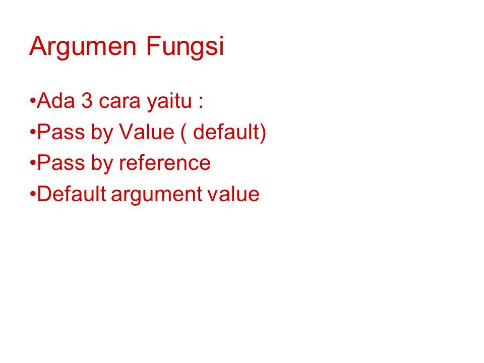 Argumen Fungsi Ada 3 cara yaitu : Pass by Value ( default)