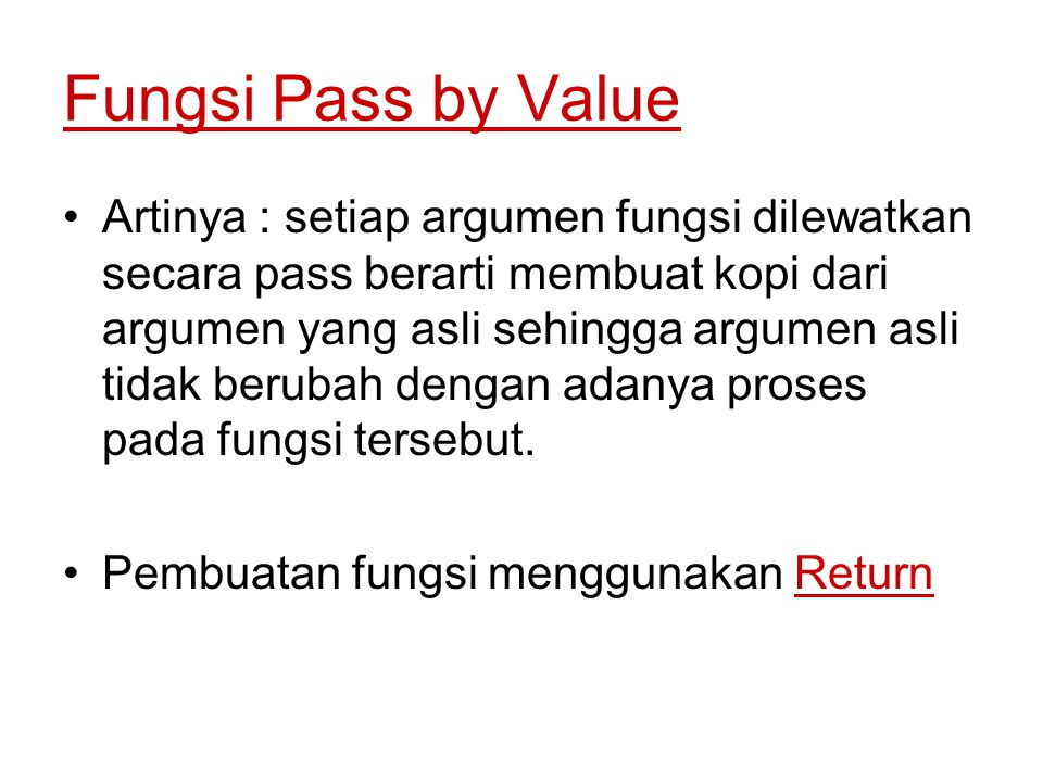Fungsi Pass by Value