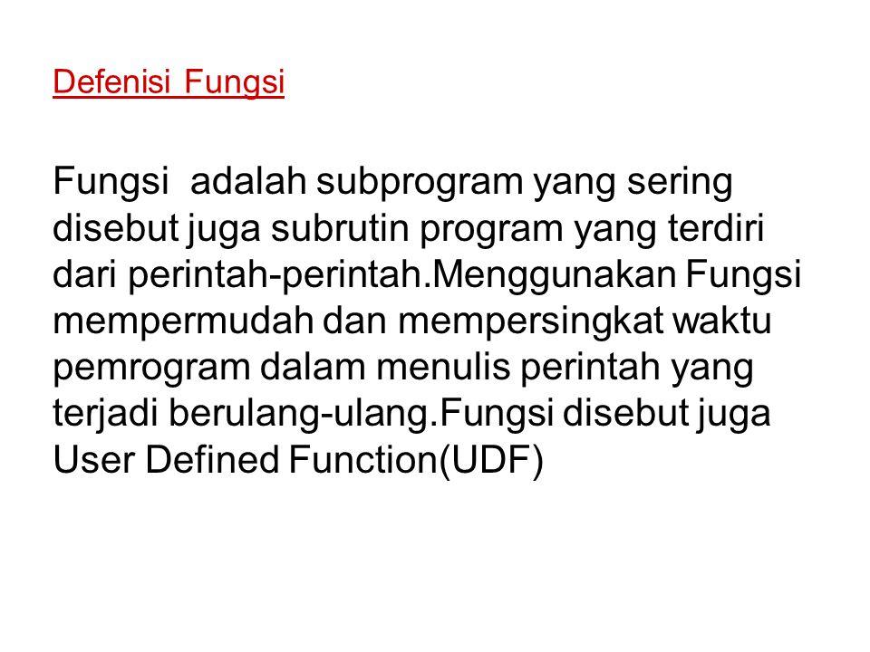 Defenisi Fungsi