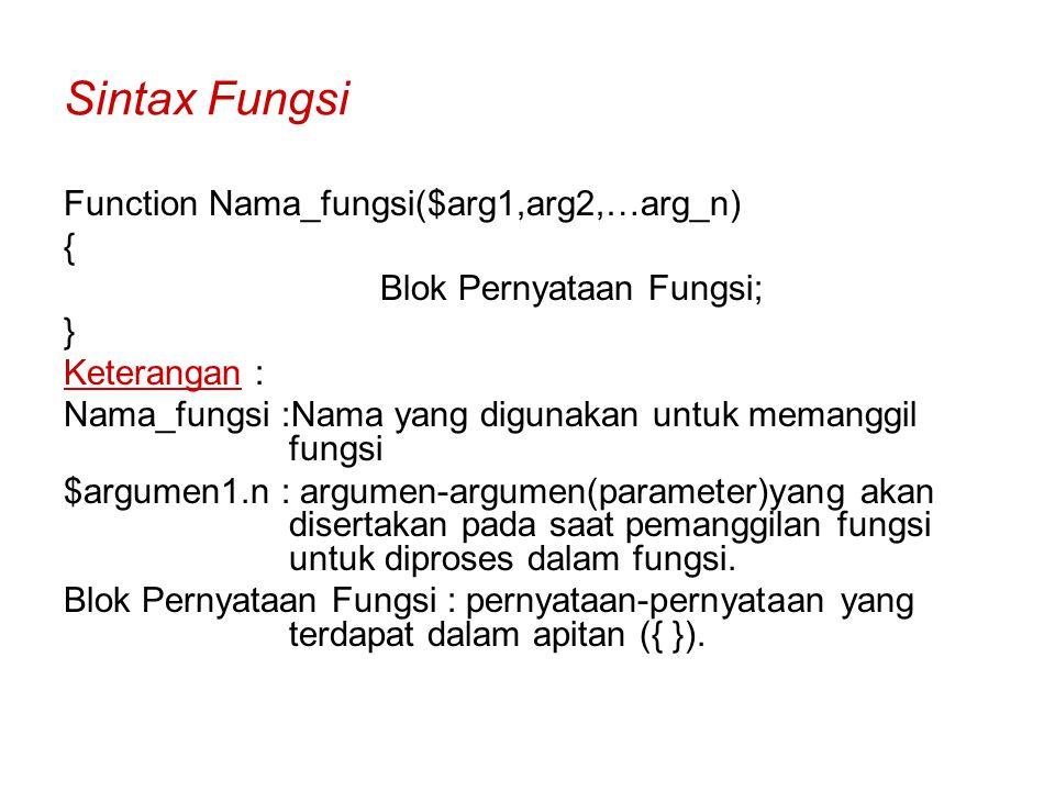 Sintax Fungsi Function Nama_fungsi($arg1,arg2,…arg_n) {