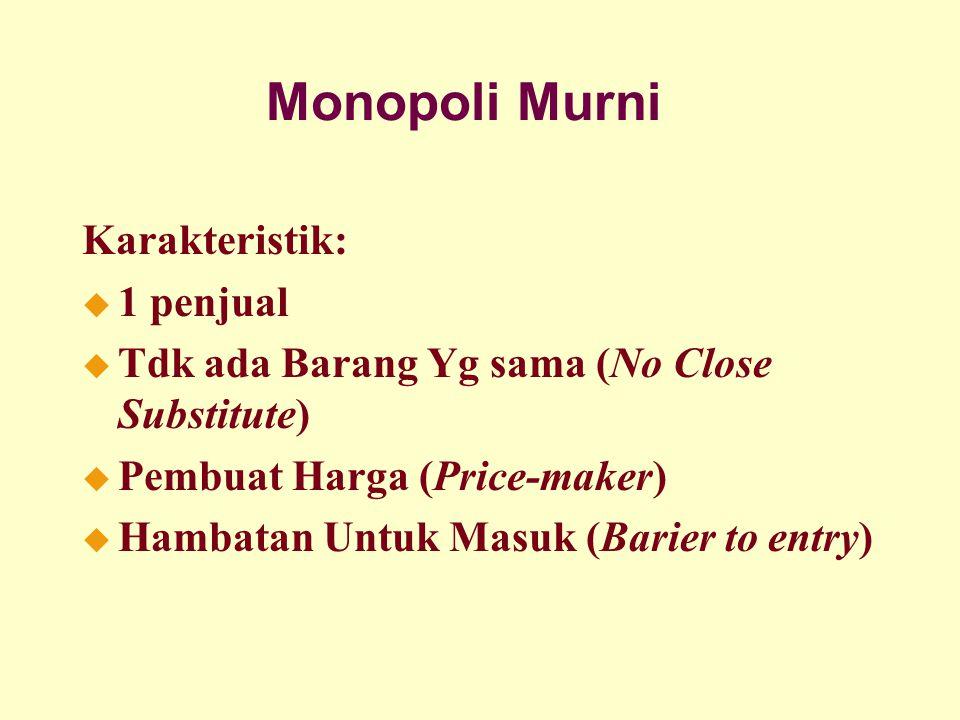 Monopoli Murni Karakteristik: 1 penjual
