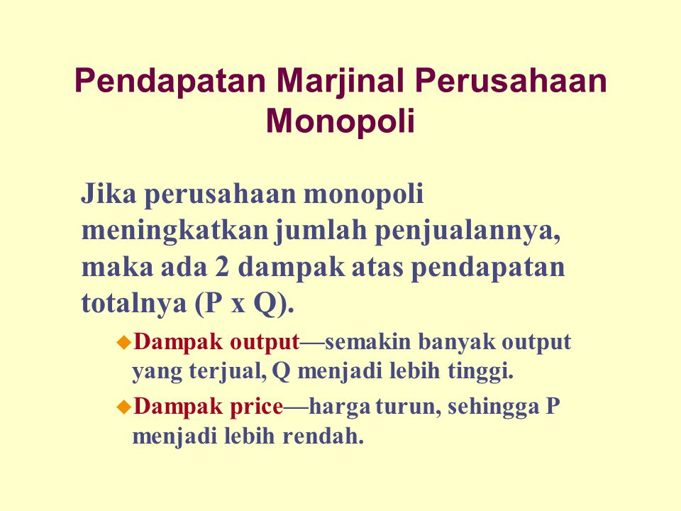 Pendapatan Marjinal Perusahaan Monopoli