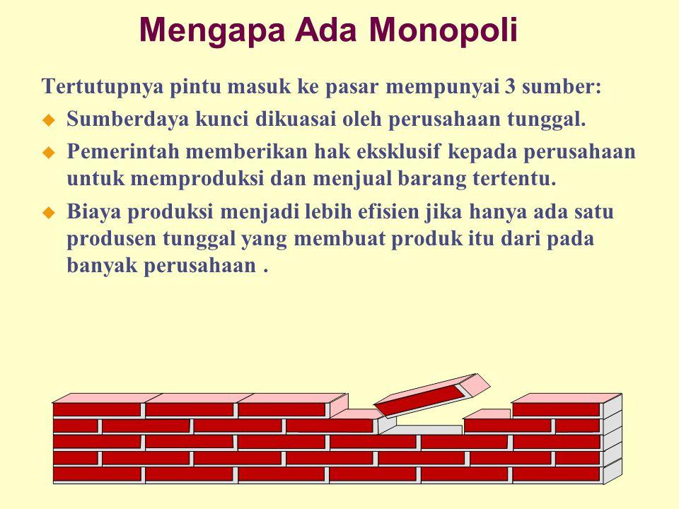 Mengapa Ada Monopoli Tertutupnya pintu masuk ke pasar mempunyai 3 sumber: Sumberdaya kunci dikuasai oleh perusahaan tunggal.