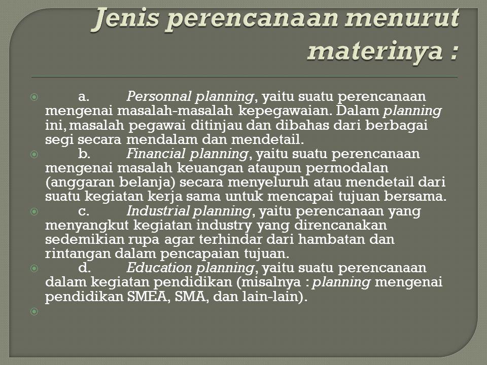 Jenis perencanaan menurut materinya :