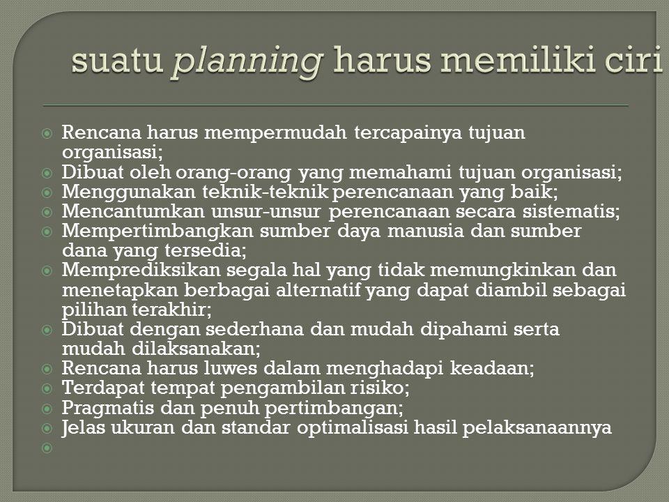 suatu planning harus memiliki ciri