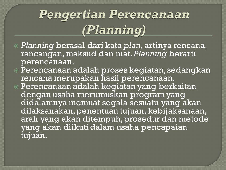 Pengertian Perencanaan (Planning)