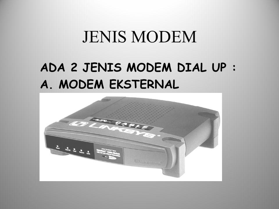 JENIS MODEM ADA 2 JENIS MODEM DIAL UP : A. MODEM EKSTERNAL