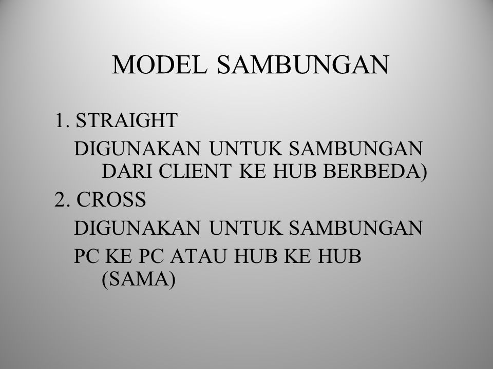 MODEL SAMBUNGAN 2. CROSS 1. STRAIGHT