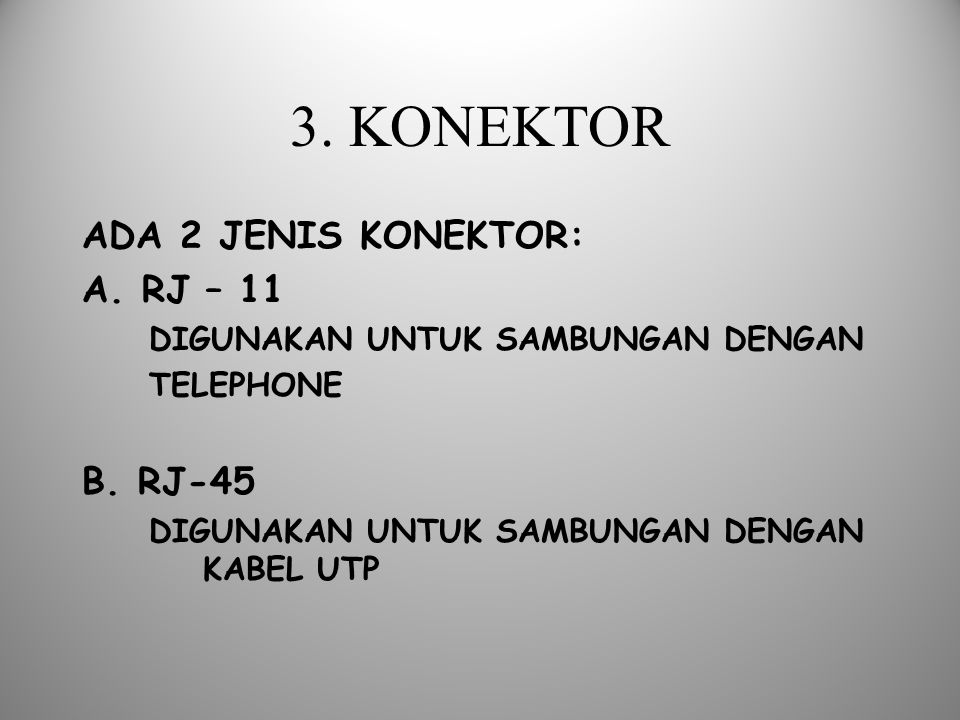 3. KONEKTOR ADA 2 JENIS KONEKTOR: A. RJ – 11 B. RJ-45