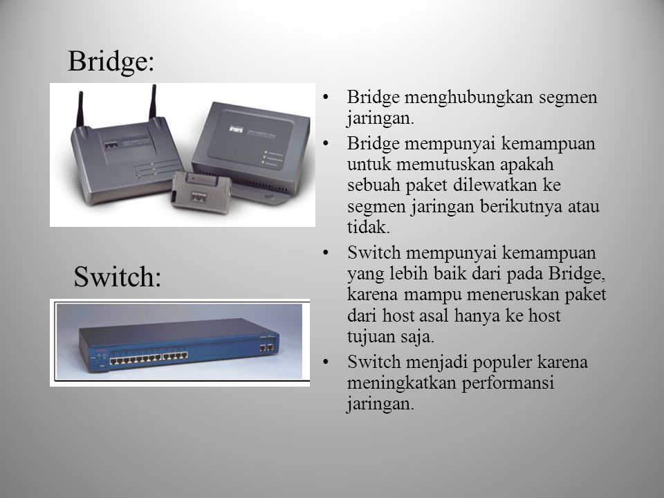 Bridge: Switch: Bridge menghubungkan segmen jaringan.