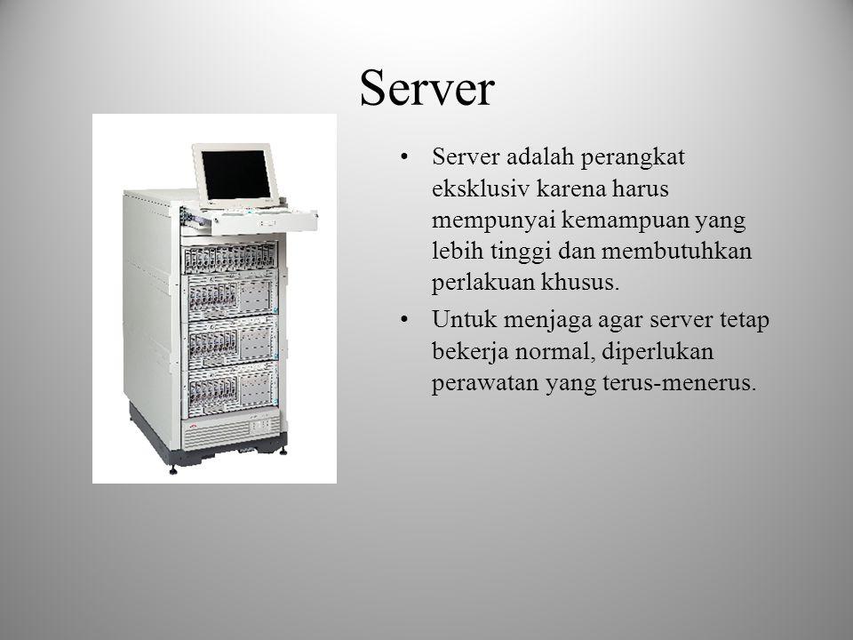 Server Server adalah perangkat eksklusiv karena harus mempunyai kemampuan yang lebih tinggi dan membutuhkan perlakuan khusus.