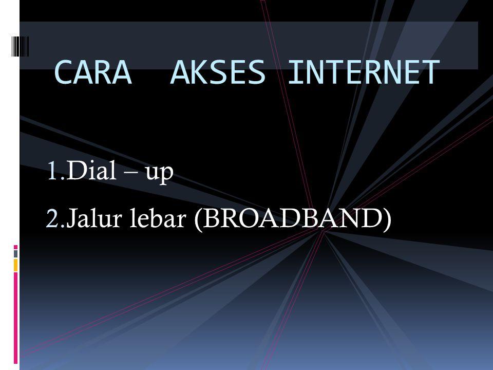 CARA AKSES INTERNET Dial – up Jalur lebar (BROADBAND)