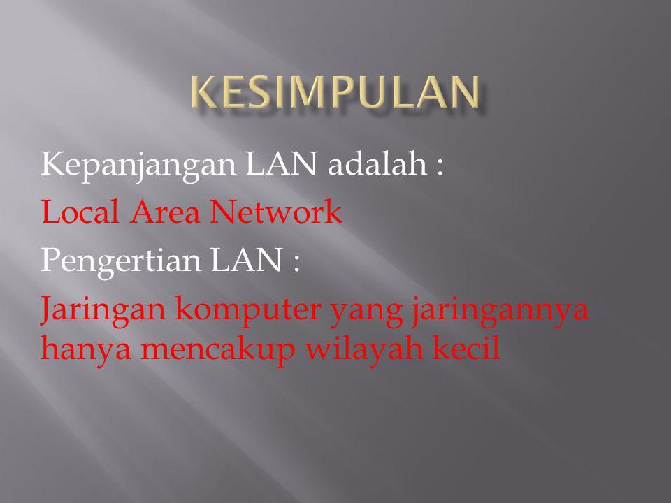 KESIMPULAN Kepanjangan LAN adalah : Local Area Network