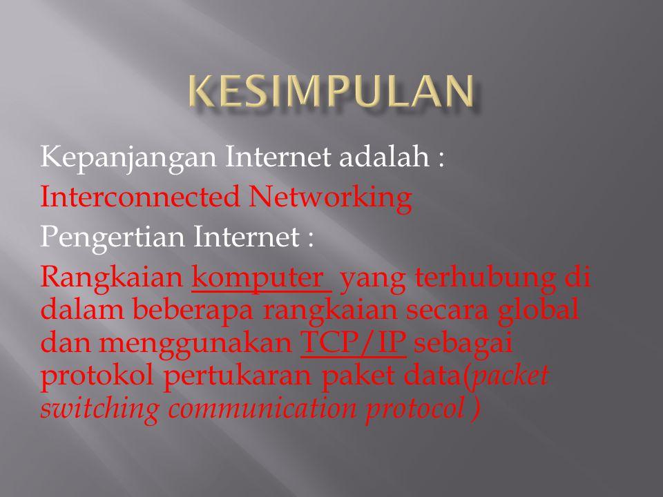 KESIMPULAN Kepanjangan Internet adalah : Interconnected Networking