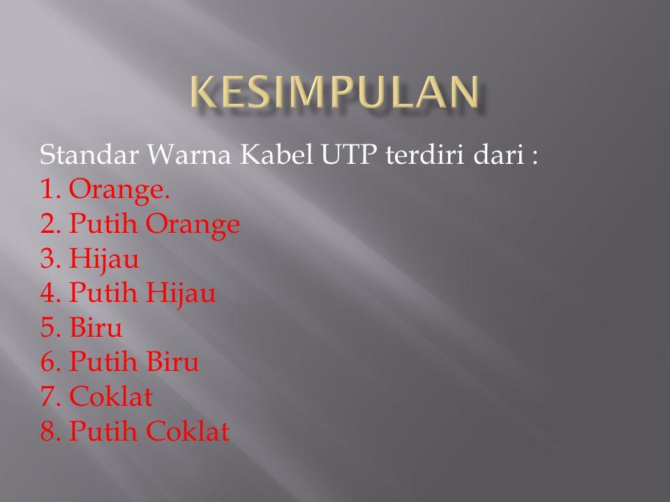 KESIMPULAN Standar Warna Kabel UTP terdiri dari : 1. Orange.