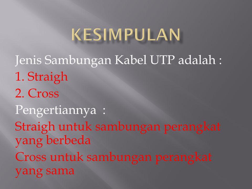 KESIMPULAN Jenis Sambungan Kabel UTP adalah : 1. Straigh 2. Cross