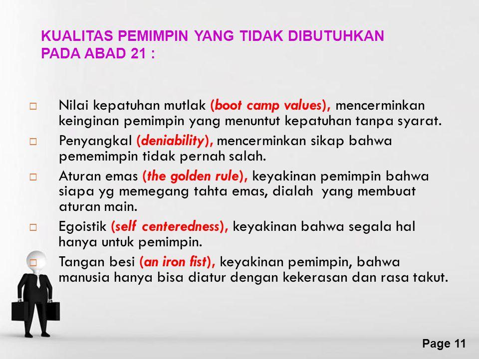 KUALITAS PEMIMPIN YANG TIDAK DIBUTUHKAN PADA ABAD 21 :