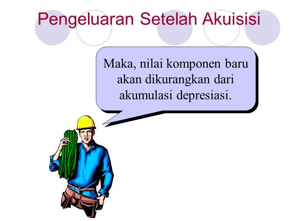 Maka, nilai komponen baru akan dikurangkan dari akumulasi depresiasi.