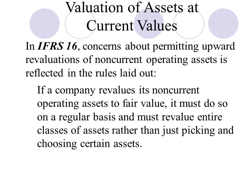 Valuation of Assets at Current Values