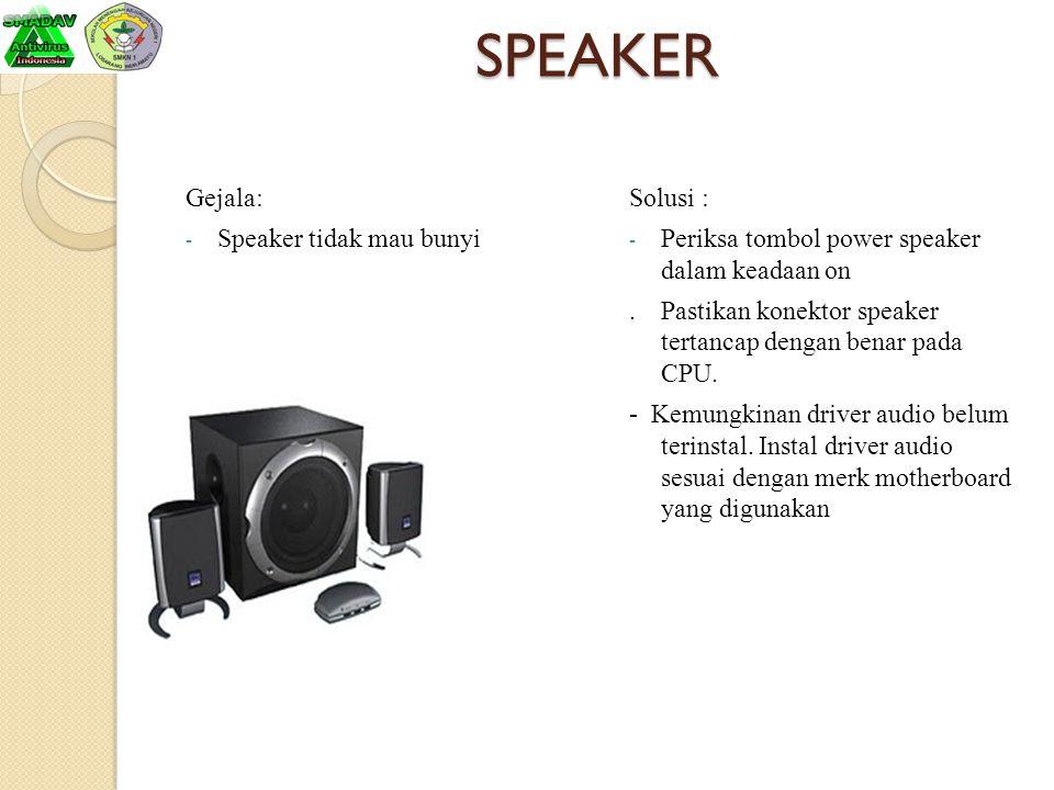 SPEAKER Gejala: Speaker tidak mau bunyi Solusi :
