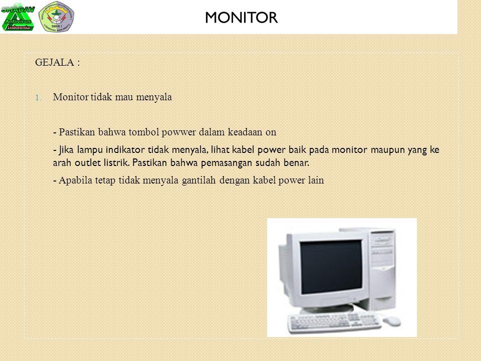 MONITOR GEJALA : Monitor tidak mau menyala