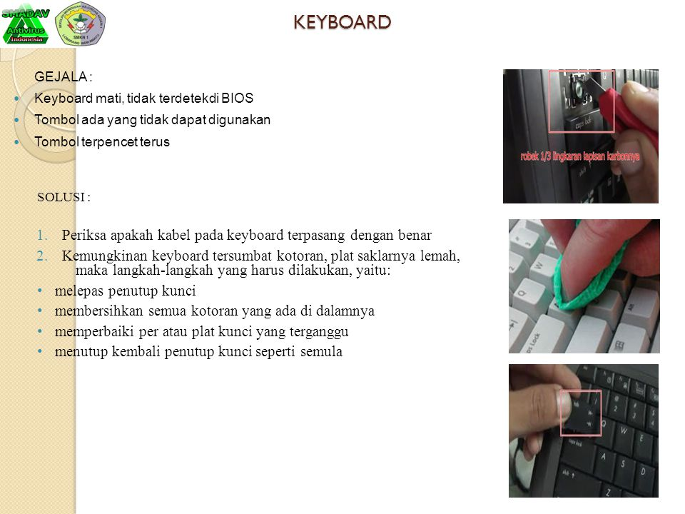 KEYBOARD Periksa apakah kabel pada keyboard terpasang dengan benar