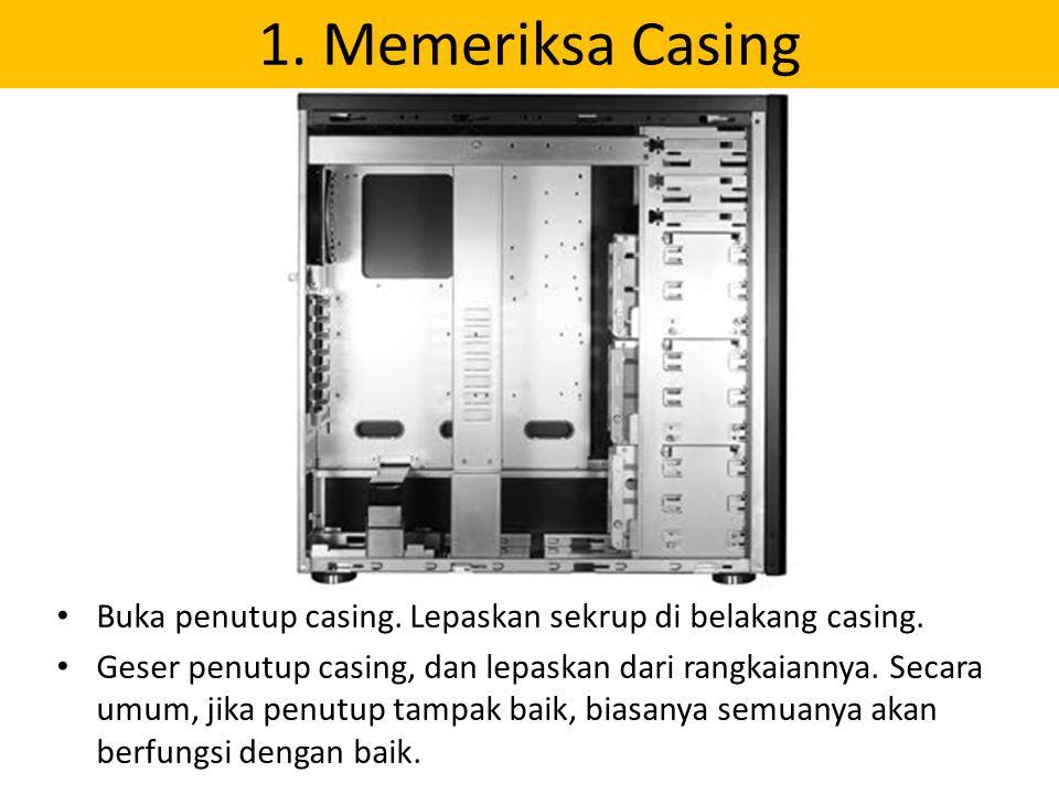 1. Memeriksa Casing Buka penutup casing. Lepaskan sekrup di belakang casing.
