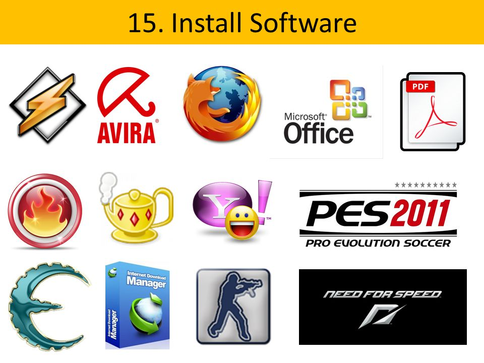 15. Install Software
