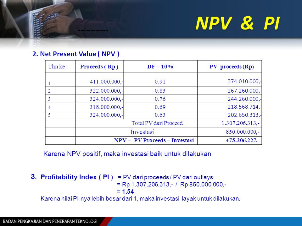 NPV & PI 2. Net Present Value ( NPV )