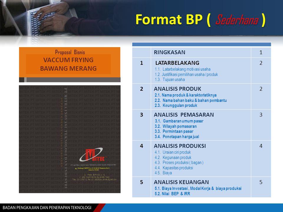 Format BP ( Sederhana ) VACCUM FRYING BAWANG MERANG RINGKASAN 1
