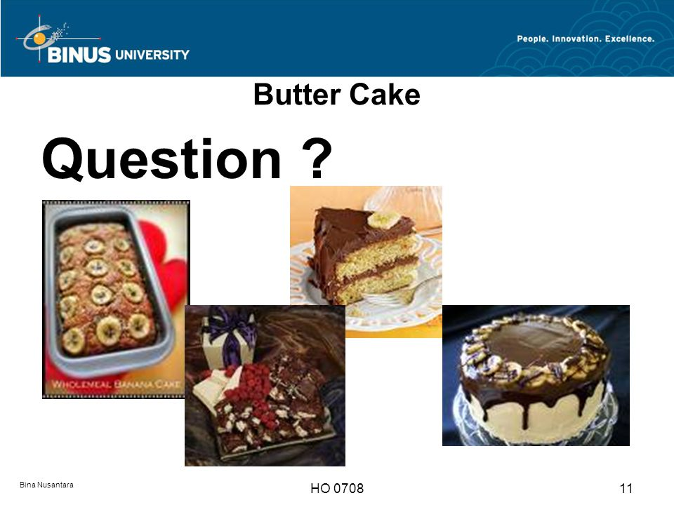 Butter Cake Question Bina Nusantara HO 0708