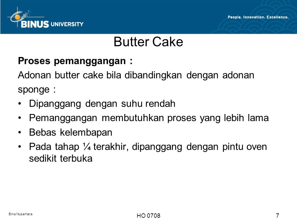 Butter Cake Proses pemanggangan :