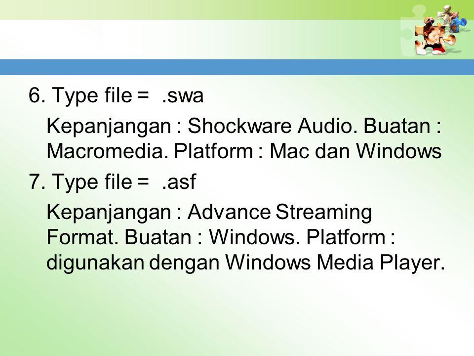 6. Type file =. swa Kepanjangan : Shockware Audio. Buatan : Macromedia