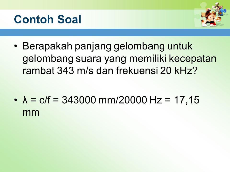 Contoh Soal Berapakah panjang gelombang untuk gelombang suara yang memiliki kecepatan rambat 343 m/s dan frekuensi 20 kHz