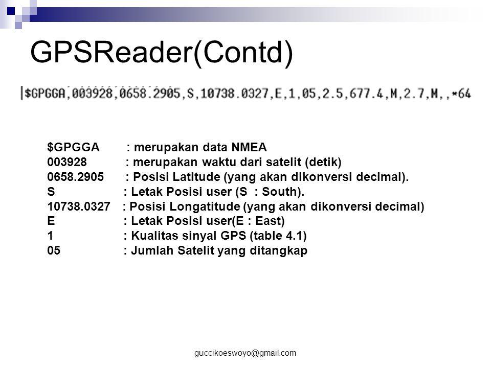 GPSReader(Contd) $GPGGA : merupakan data NMEA