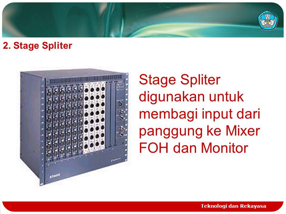 2. Stage Spliter Stage Spliter digunakan untuk membagi input dari panggung ke Mixer FOH dan Monitor.