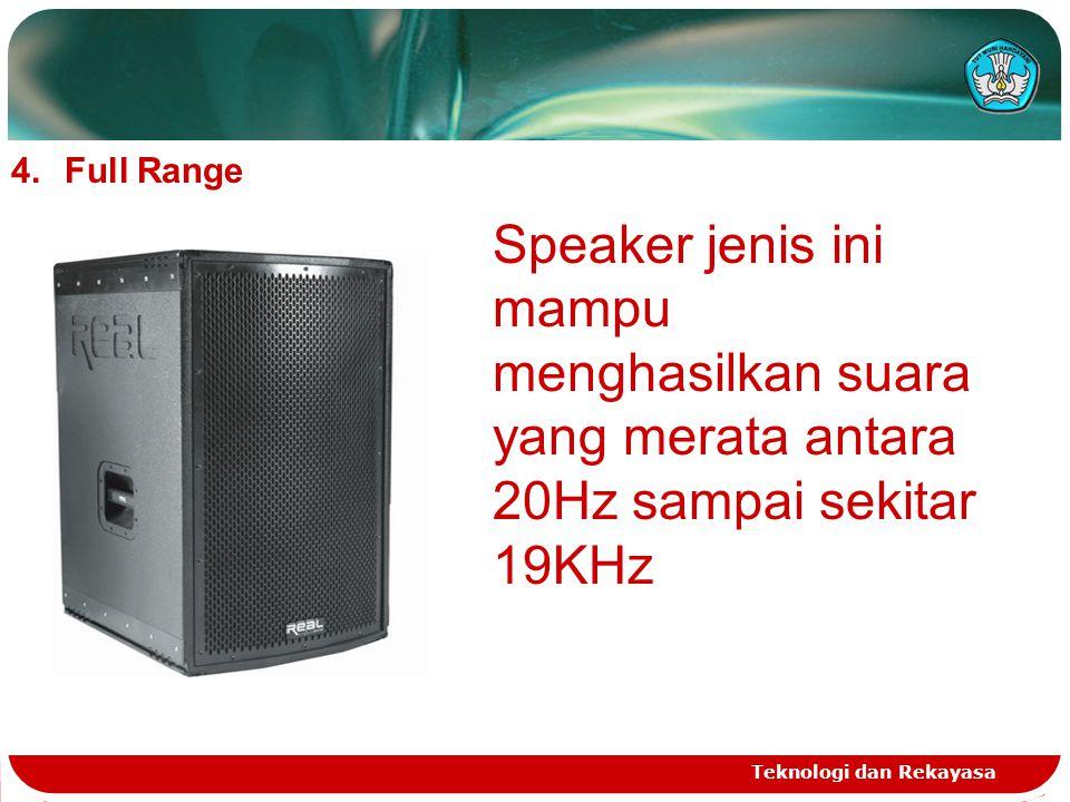Full Range Speaker jenis ini mampu menghasilkan suara yang merata antara 20Hz sampai sekitar 19KHz.