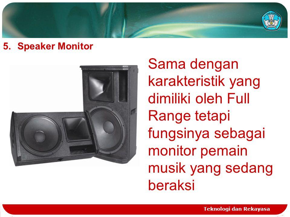 Speaker Monitor Sama dengan karakteristik yang dimiliki oleh Full Range tetapi fungsinya sebagai monitor pemain musik yang sedang beraksi.