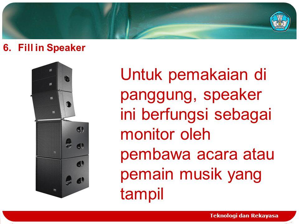 Fill in Speaker Untuk pemakaian di panggung, speaker ini berfungsi sebagai monitor oleh pembawa acara atau pemain musik yang tampil.