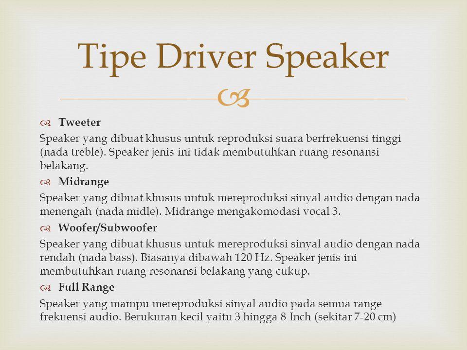Tipe Driver Speaker Tweeter