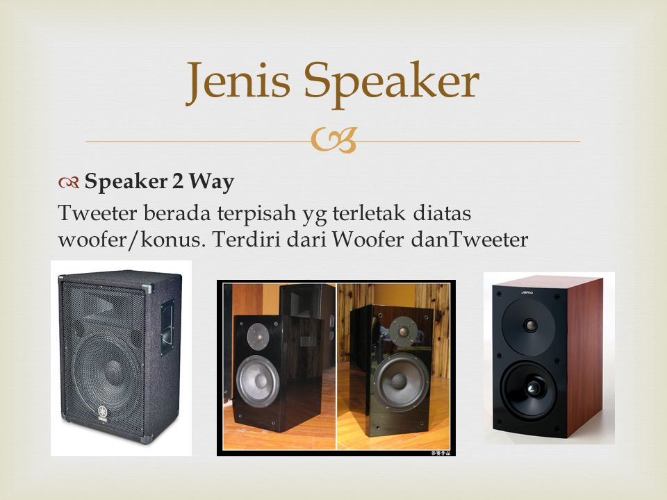Jenis Speaker Speaker 2 Way