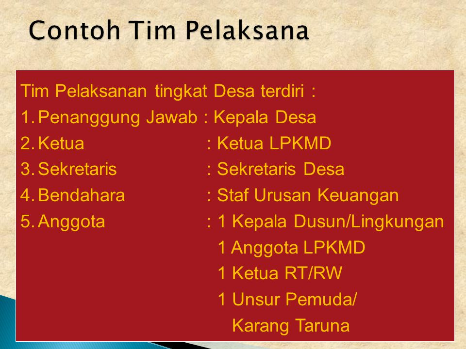 Contoh Tim Pelaksana Tim Pelaksanan tingkat Desa terdiri :