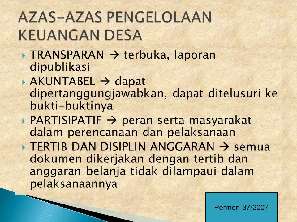 AZAS-AZAS PENGELOLAAN KEUANGAN DESA