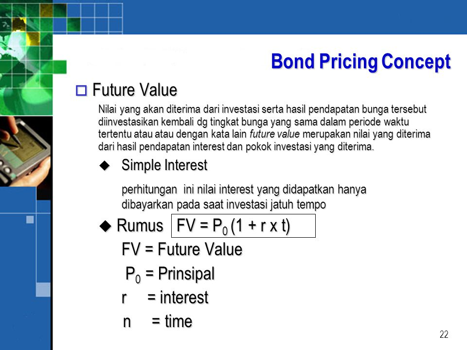 Bond Pricing Concept Future Value